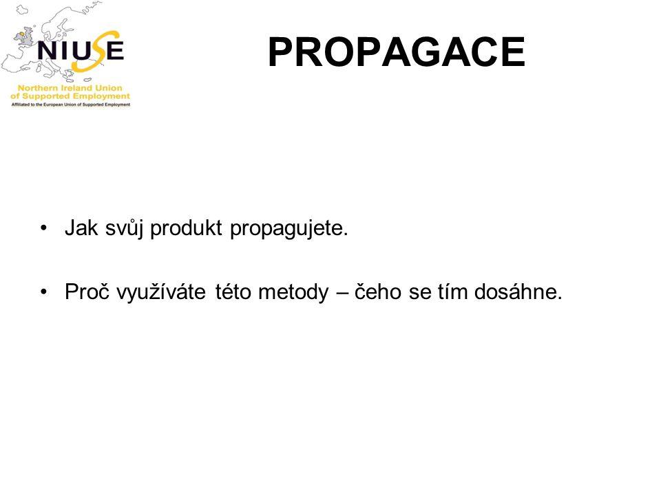PROPAGACE Jak svůj produkt propagujete.