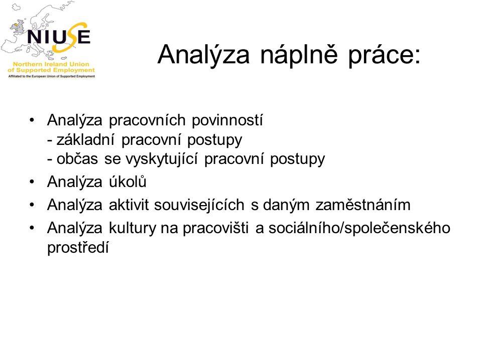 Analýza náplně práce: Analýza pracovních povinností - základní pracovní postupy - občas se vyskytující pracovní postupy.