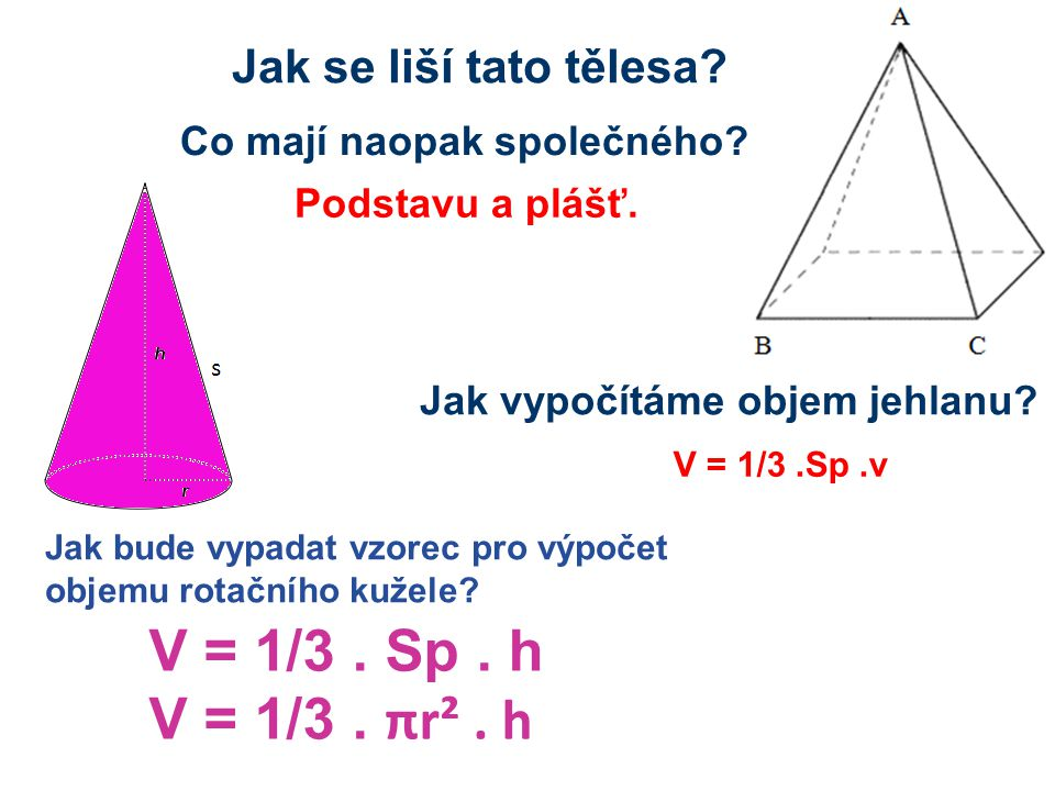 V = 1/3 . Sp . h V = 1/3 . πr² . h Jak se liší tato tělesa