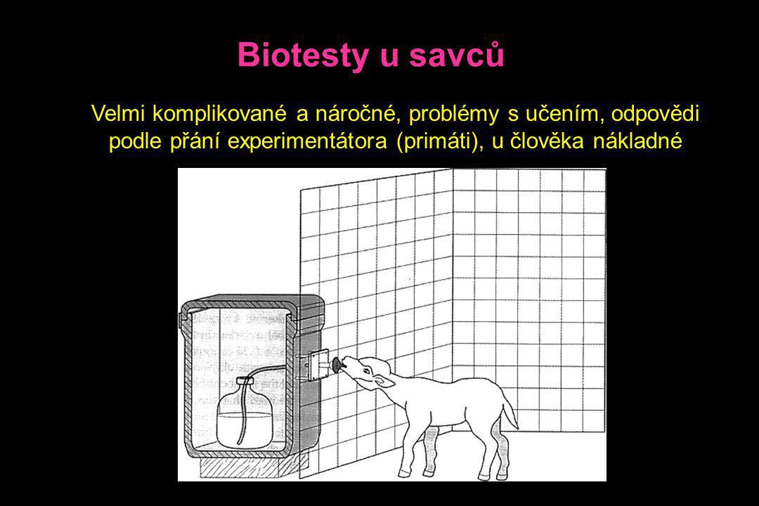 Biotesty u savců Velmi komplikované a náročné, problémy s učením, odpovědi podle přání experimentátora (primáti), u člověka nákladné.