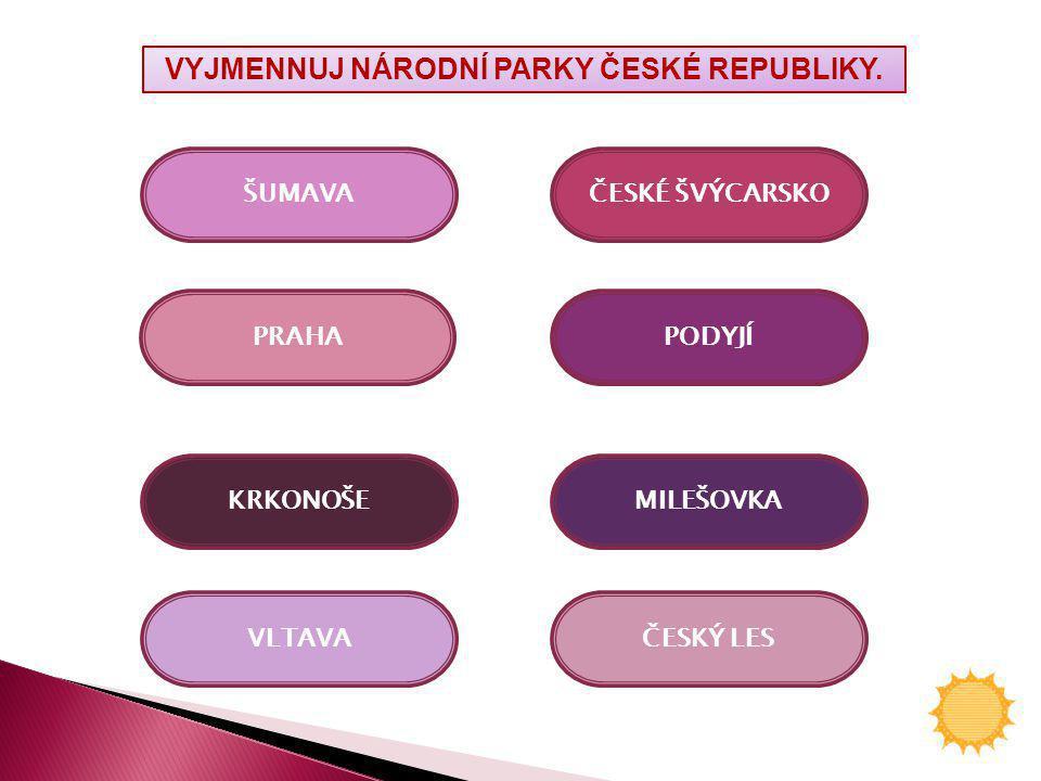 VYJMENNUJ NÁRODNÍ PARKY ČESKÉ REPUBLIKY.