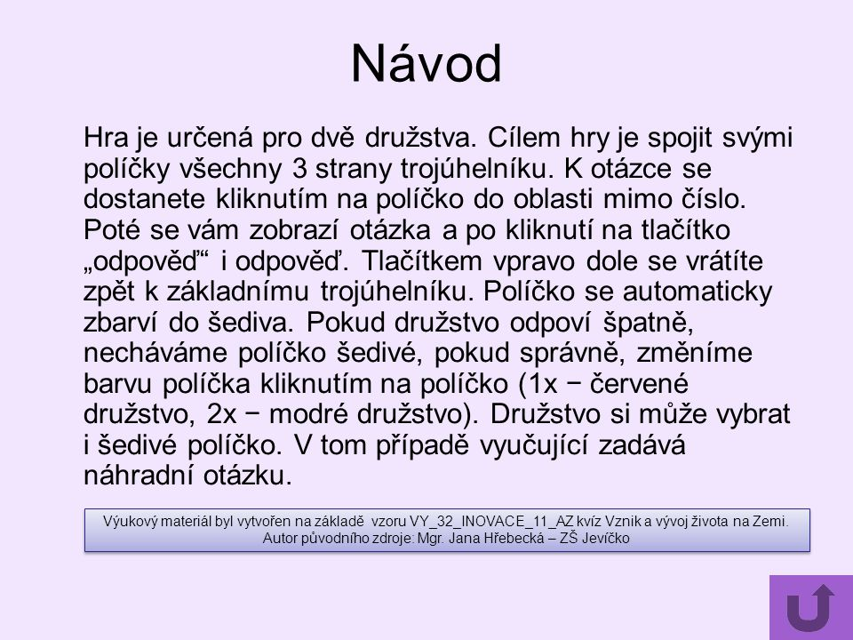 Autor původního zdroje: Mgr. Jana Hřebecká – ZŠ Jevíčko
