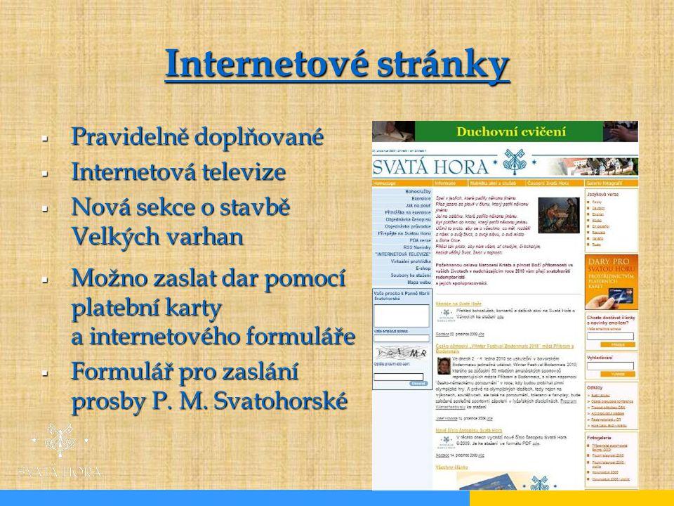 Internetové stránky Pravidelně doplňované Internetová televize