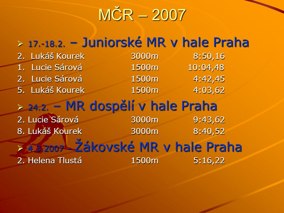 MČR – 2007 17.-18.2. – Juniorské MR v hale Praha