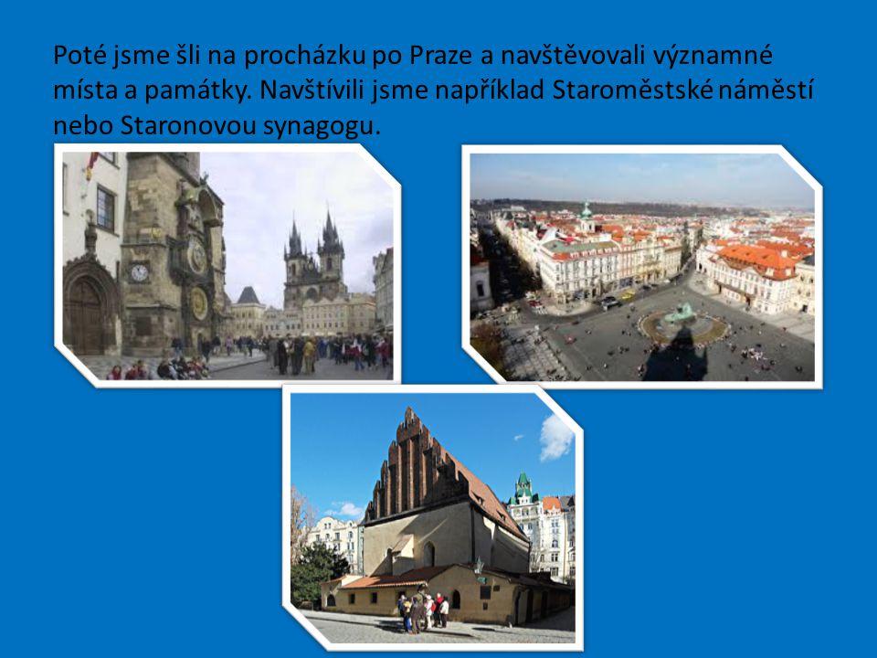 Poté jsme šli na procházku po Praze a navštěvovali významné místa a památky.
