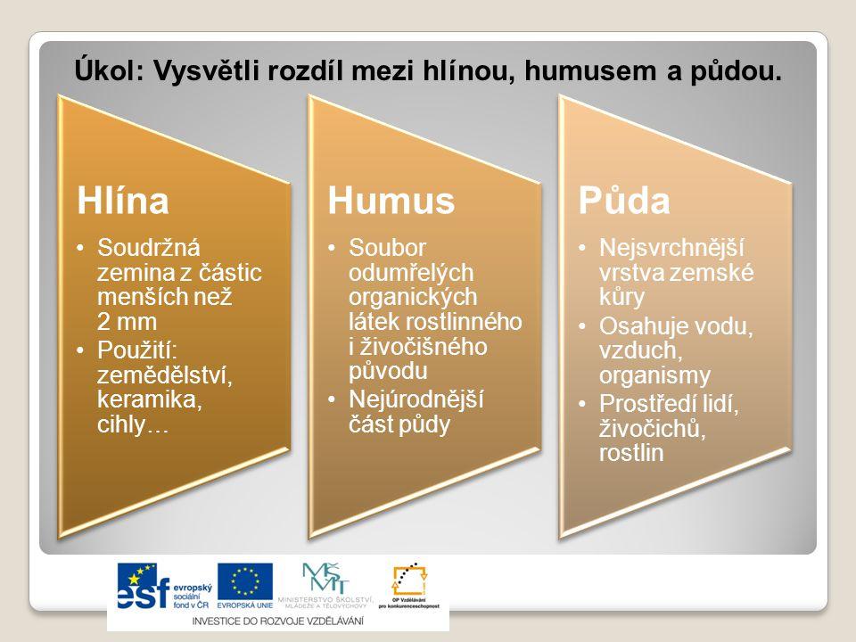 Úkol: Vysvětli rozdíl mezi hlínou, humusem a půdou.
