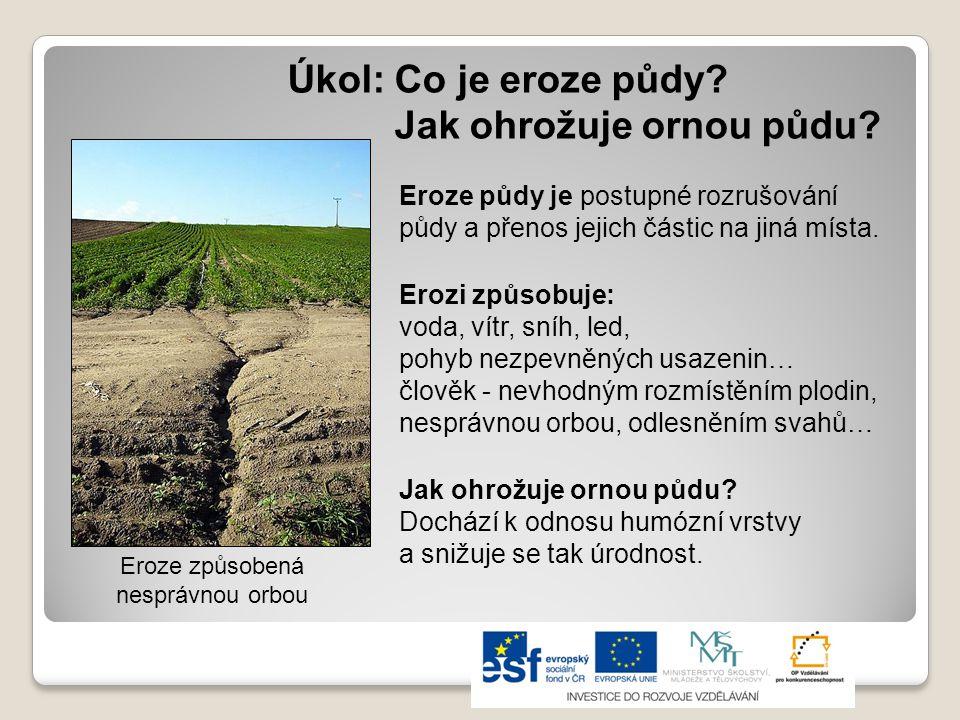 Úkol: Co je eroze půdy Jak ohrožuje ornou půdu