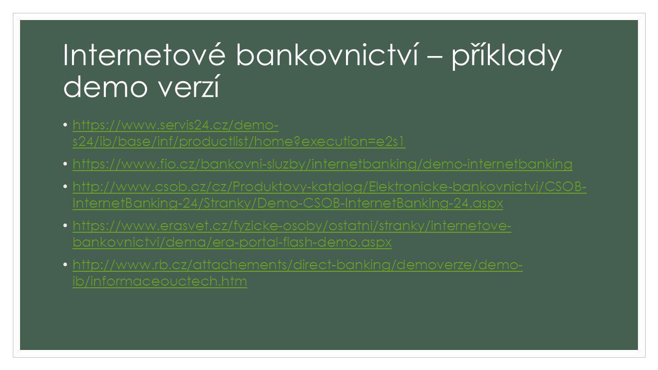 Internetové bankovnictví – příklady demo verzí