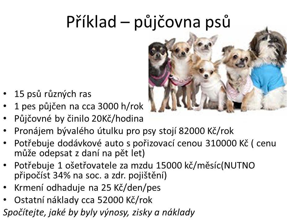 Příklad – půjčovna psů 15 psů různých ras