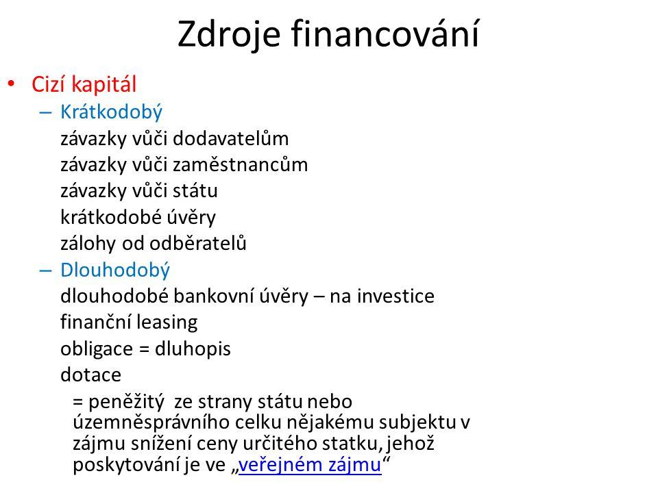 Zdroje financování Cizí kapitál Krátkodobý závazky vůči dodavatelům