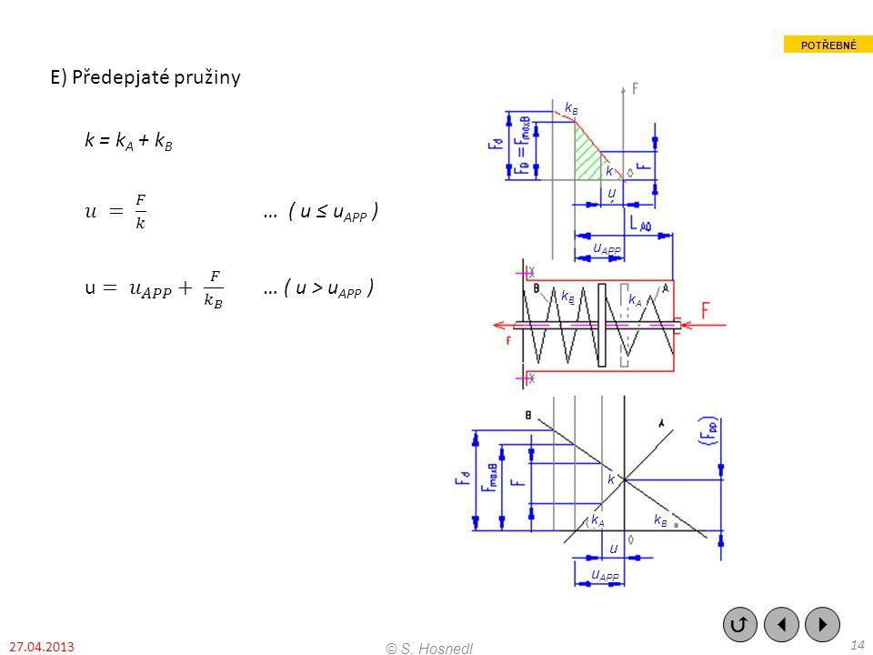 E) Předepjaté pružiny k = kA + kB 𝑢 = 𝐹 𝑘 … ( u ≤ uAPP ) u = 𝑢 𝐴𝑃𝑃 + 𝐹 𝑘 𝐵 … ( u > uAPP )