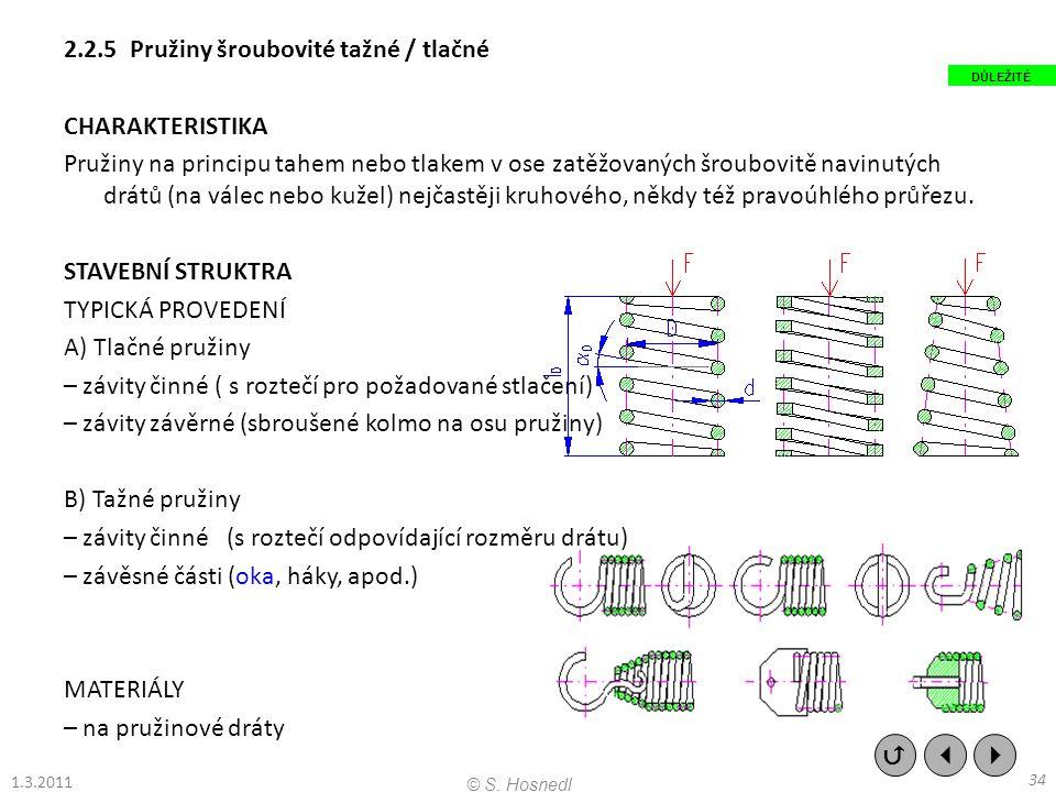 2.2.5 Pružiny šroubovité tažné / tlačné CHARAKTERISTIKA Pružiny na principu tahem nebo tlakem v ose zatěžovaných šroubovitě navinutých drátů (na válec nebo kužel) nejčastěji kruhového, někdy též pravoúhlého průřezu. STAVEBNÍ STRUKTRA TYPICKÁ PROVEDENÍ A) Tlačné pružiny – závity činné ( s roztečí pro požadované stlačení) – závity závěrné (sbroušené kolmo na osu pružiny) B) Tažné pružiny – závity činné (s roztečí odpovídající rozměru drátu) – závěsné části (oka, háky, apod.) MATERIÁLY – na pružinové dráty