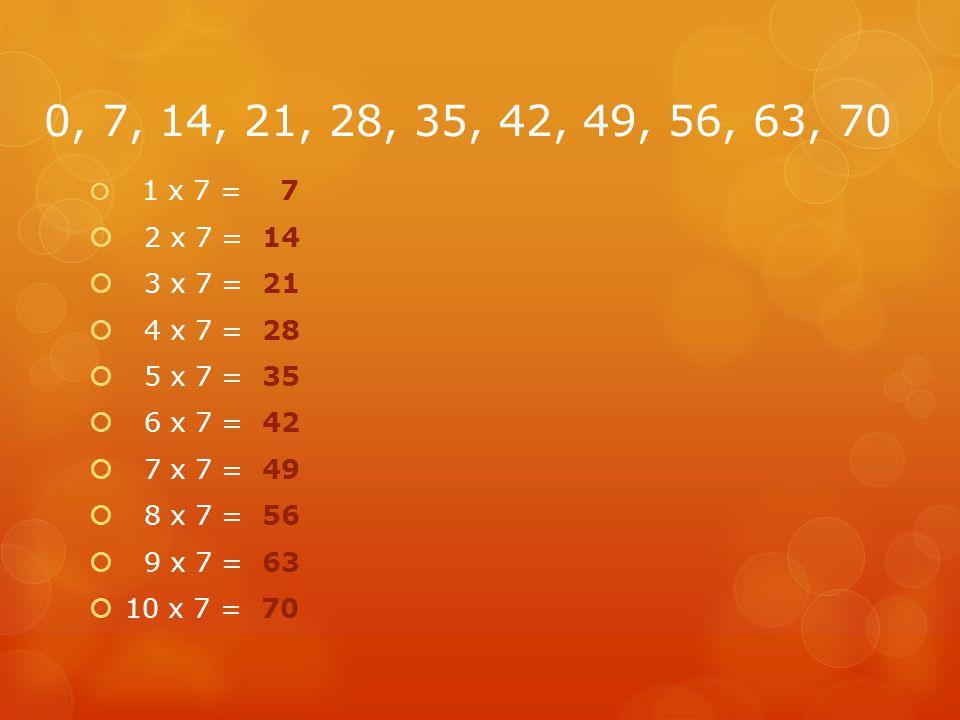 0, 7, 14, 21, 28, 35, 42, 49, 56, 63, 70 1 x 7 = 7. 2 x 7 = 14. 3 x 7 = 21. 4 x 7 = 28. 5 x 7 = 35.
