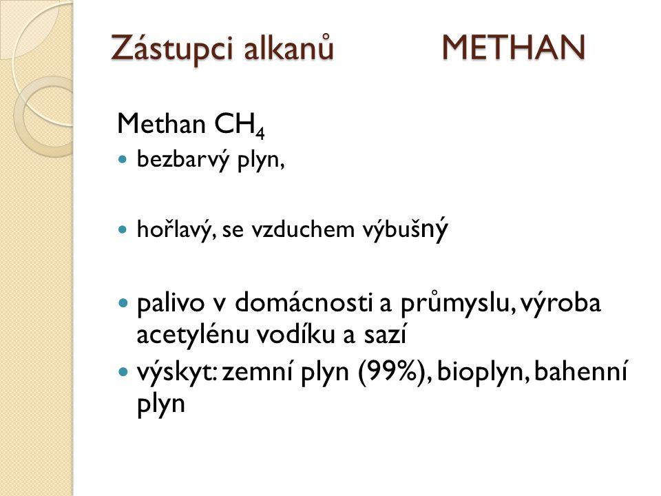 Zástupci alkanů METHAN