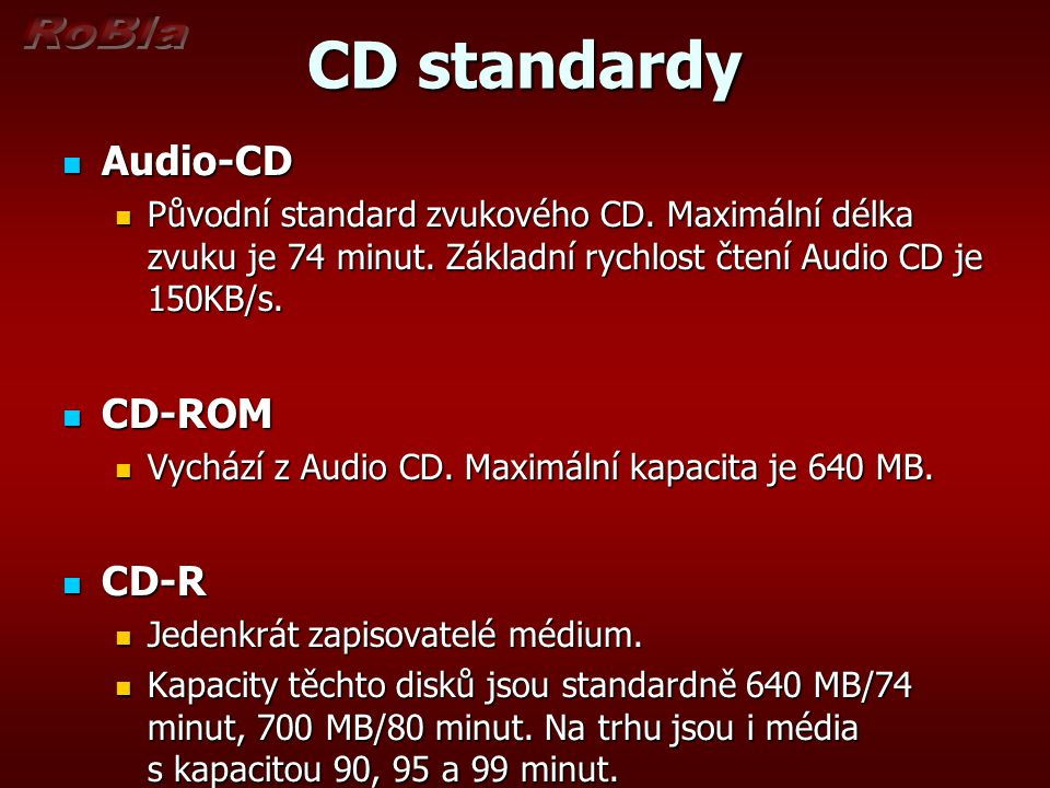 CD standardy Audio-CD CD-ROM CD-R