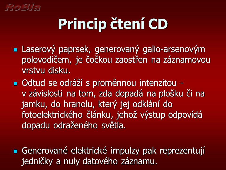 Princip čtení CD Laserový paprsek, generovaný galio-arsenovým polovodičem, je čočkou zaostřen na záznamovou vrstvu disku.