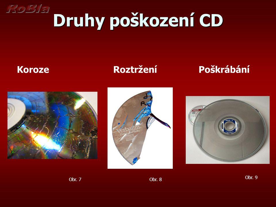 Druhy poškození CD Koroze Roztržení Poškrábání Obr. 9 Obr. 7 Obr. 8