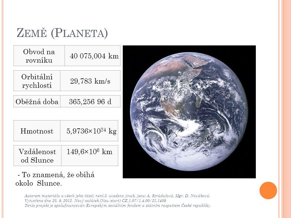 Země (Planeta) Obvod na rovníku 40 075,004 km Orbitální rychlostí
