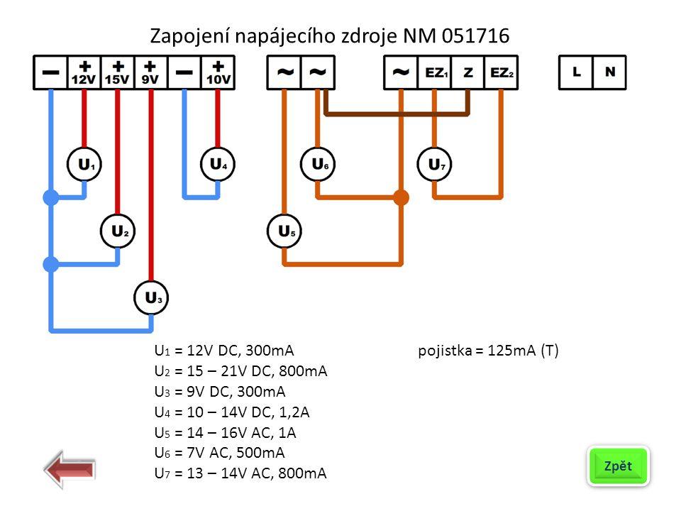 Zapojení napájecího zdroje NM 051716