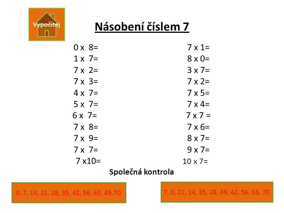Násobení číslem 7 0 x 8= 7 x 1= 1 x 7= 8 x 0= 7 x 2= 3 x 7=