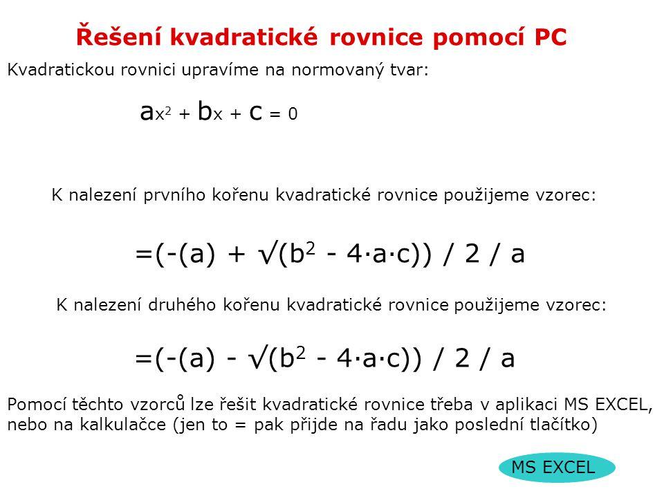 Řešení kvadratické rovnice pomocí PC