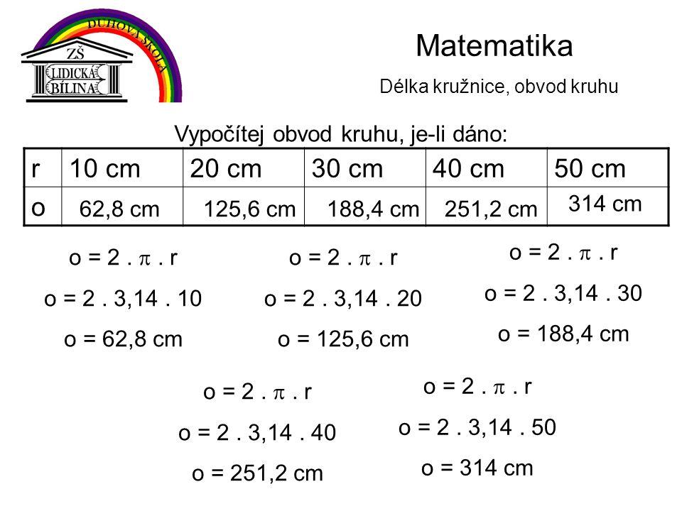 Matematika Délka kružnice, obvod kruhu