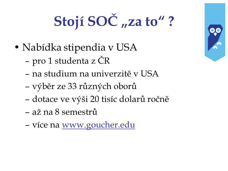 """Stojí SOČ """"za to Nabídka stipendia v USA pro 1 studenta z ČR"""