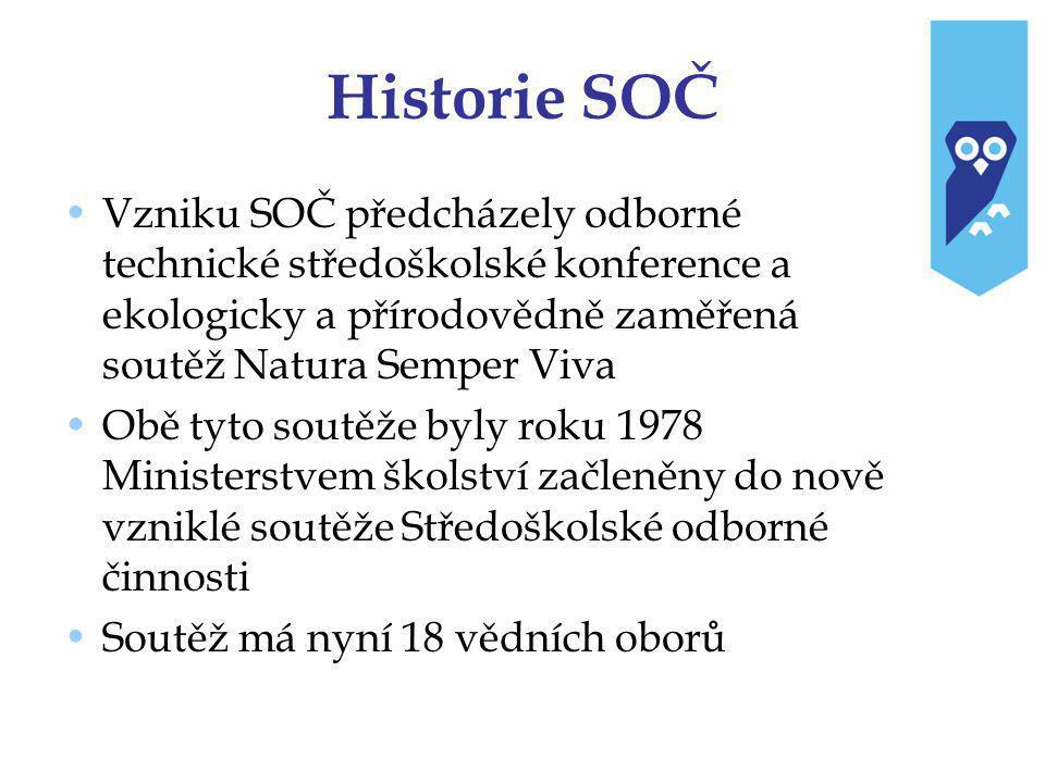 Historie SOČ Vzniku SOČ předcházely odborné technické středoškolské konference a ekologicky a přírodovědně zaměřená soutěž Natura Semper Viva.