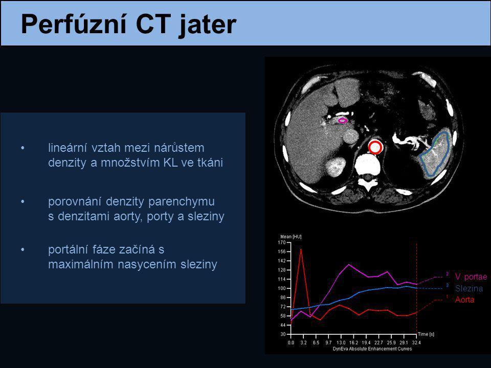 Perfúzní CT jater lineární vztah mezi nárůstem denzity a množstvím KL ve tkáni. porovnání denzity parenchymu s denzitami aorty, porty a sleziny.