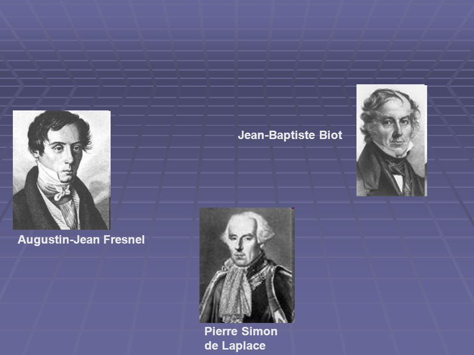 Jean-Baptiste Biot Augustin-Jean Fresnel Pierre Simon de Laplace