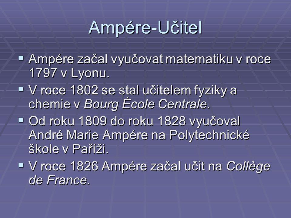 Ampére-Učitel Ampére začal vyučovat matematiku v roce 1797 v Lyonu.