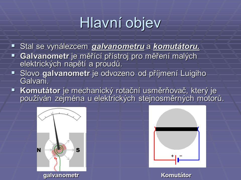 Hlavní objev Stal se vynálezcem galvanometru a komutátoru.