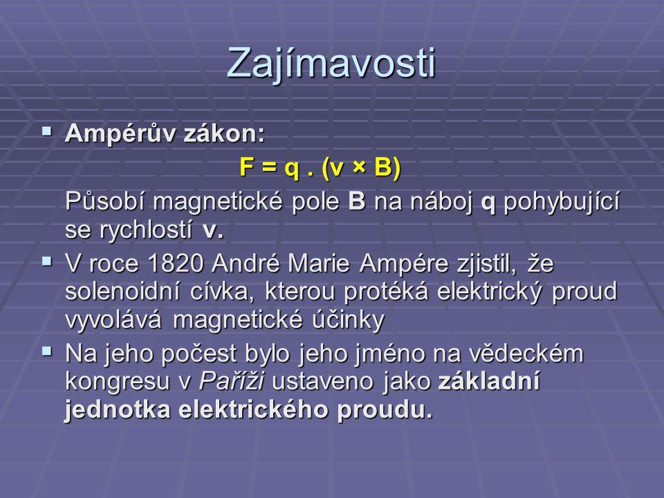Zajímavosti Ampérův zákon: F = q . (v × B)