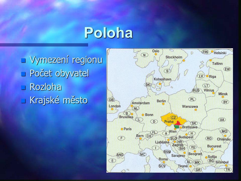 Poloha Vymezení regionu Počet obyvatel Rozloha Krajské město