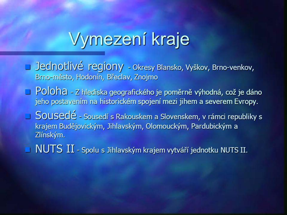 Vymezení kraje Jednotlivé regiony - Okresy Blansko, Vyškov, Brno-venkov, Brno-město, Hodonín, Břeclav, Znojmo.