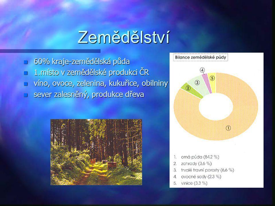 Zemědělství 60% kraje-zemědělská půda 1.místo v zemědělské produkci ČR