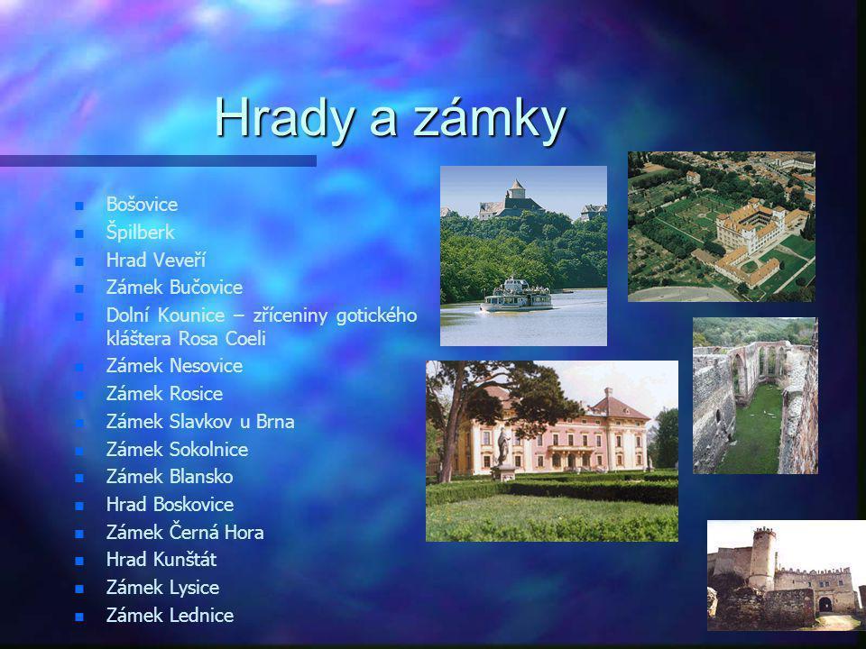 Hrady a zámky Bošovice Špilberk Hrad Veveří Zámek Bučovice