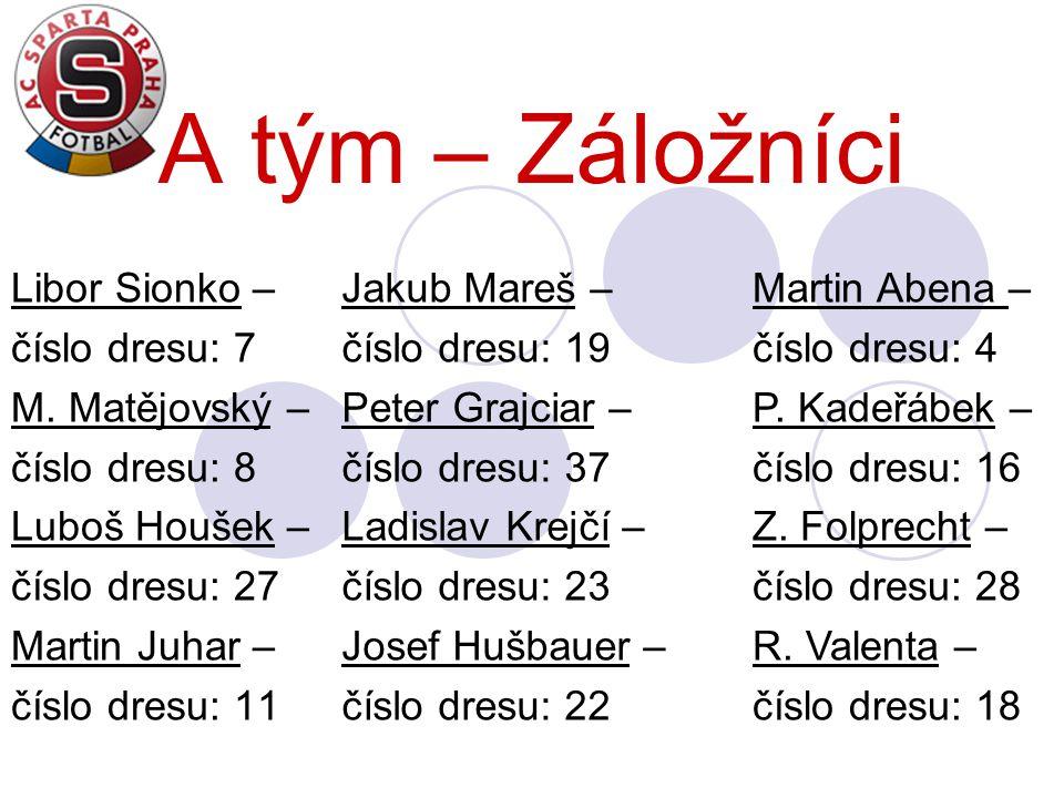 A tým – Záložníci Libor Sionko – číslo dresu: 7 M. Matějovský –