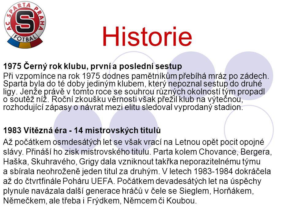 Historie 1975 Černý rok klubu, první a poslední sestup