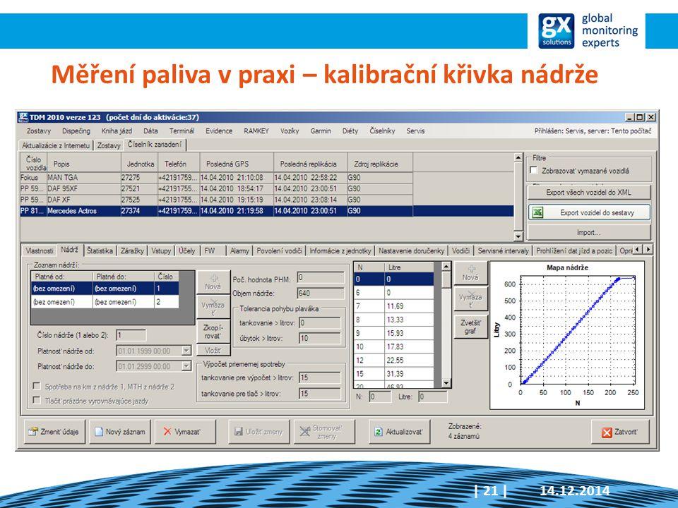 Měření paliva v praxi – kalibrační křivka nádrže