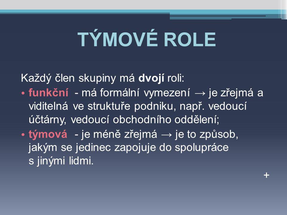 TÝMOVÉ ROLE Každý člen skupiny má dvojí roli: