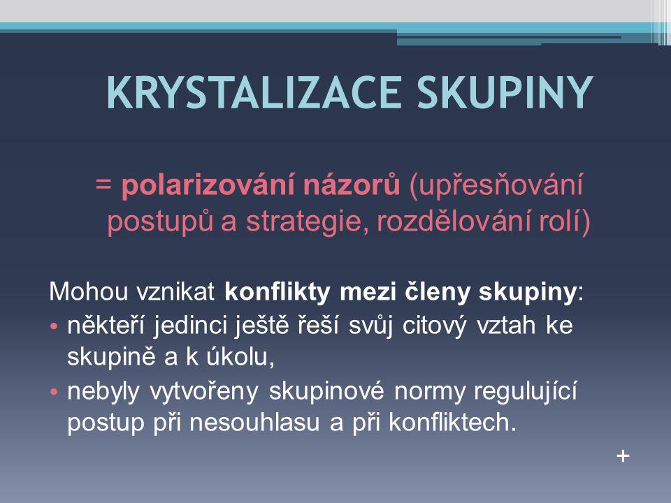 KRYSTALIZACE SKUPINY = polarizování názorů (upřesňování postupů a strategie, rozdělování rolí) Mohou vznikat konflikty mezi členy skupiny: