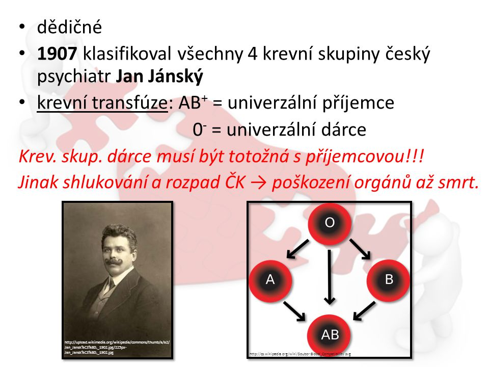1907 klasifikoval všechny 4 krevní skupiny český psychiatr Jan Jánský