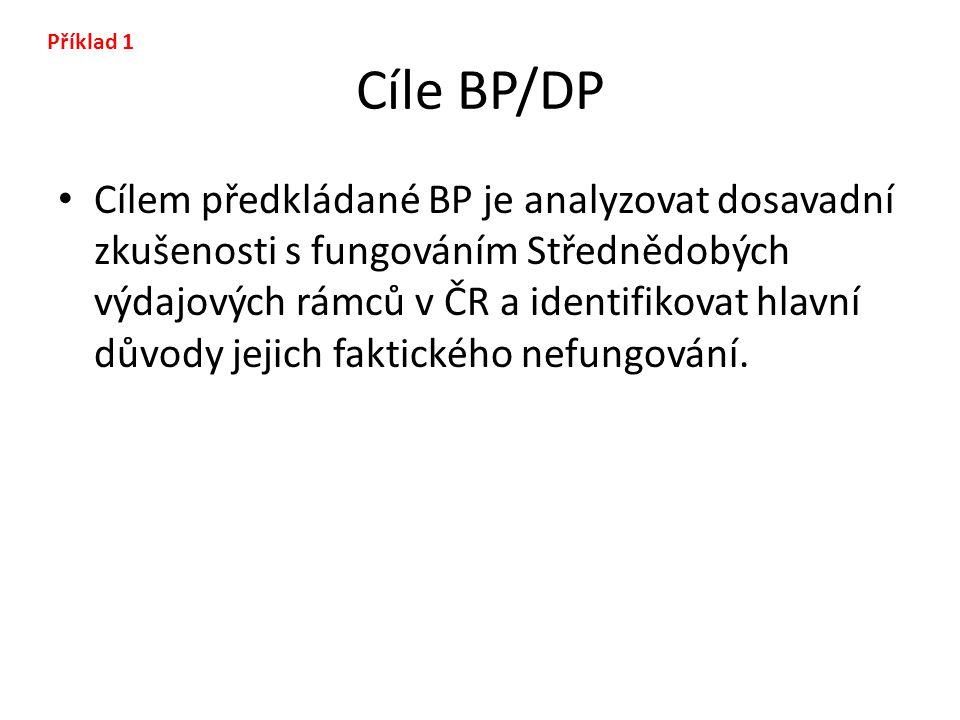 Příklad 1 Cíle BP/DP.