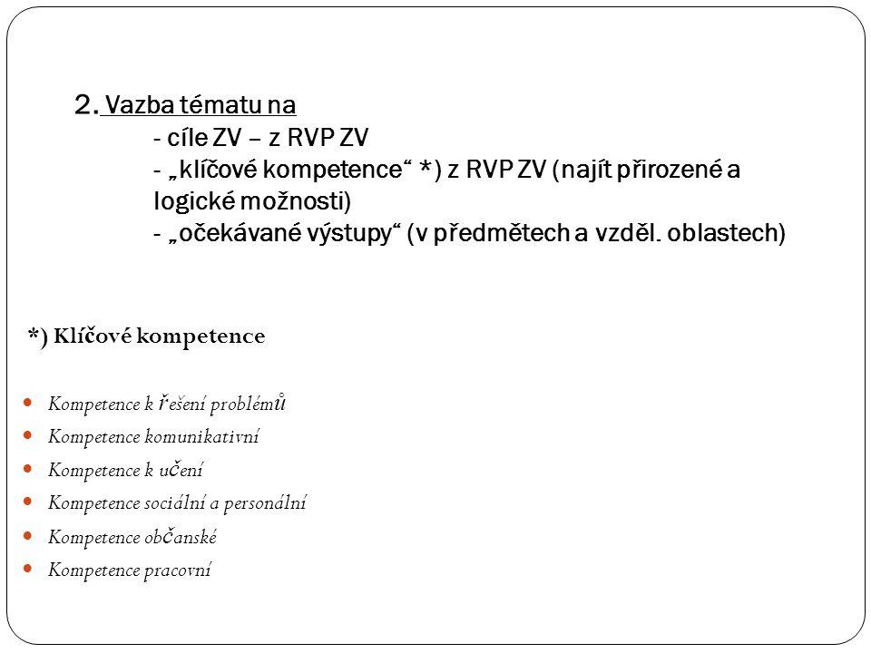 """2. Vazba tématu na - cíle ZV – z RVP ZV - """"klíčové kompetence"""
