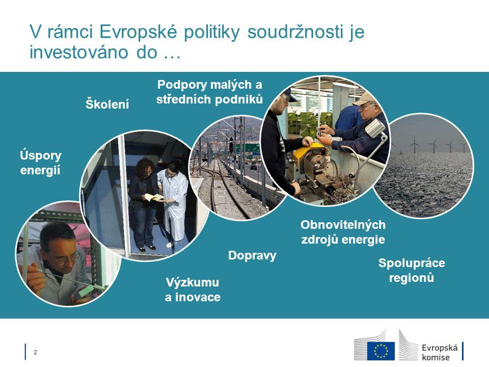V rámci Evropské politiky soudržnosti je investováno do …