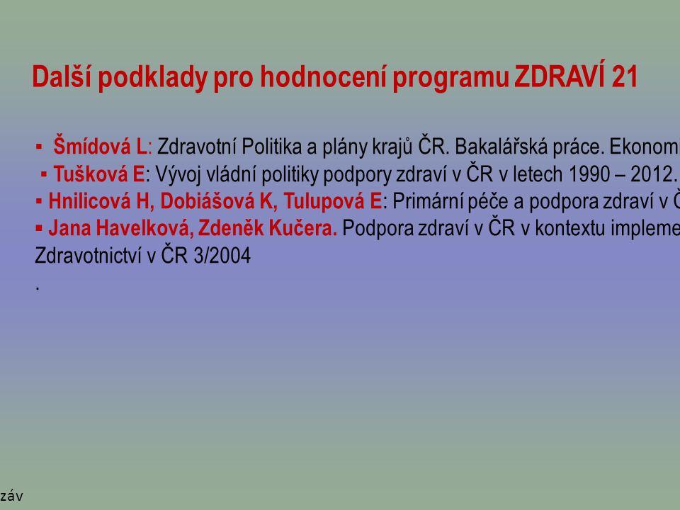 Další podklady pro hodnocení programu ZDRAVÍ 21