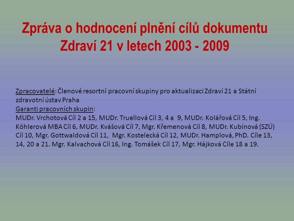 Zpráva o hodnocení plnění cílů dokumentu Zdraví 21 v letech 2003 - 2009