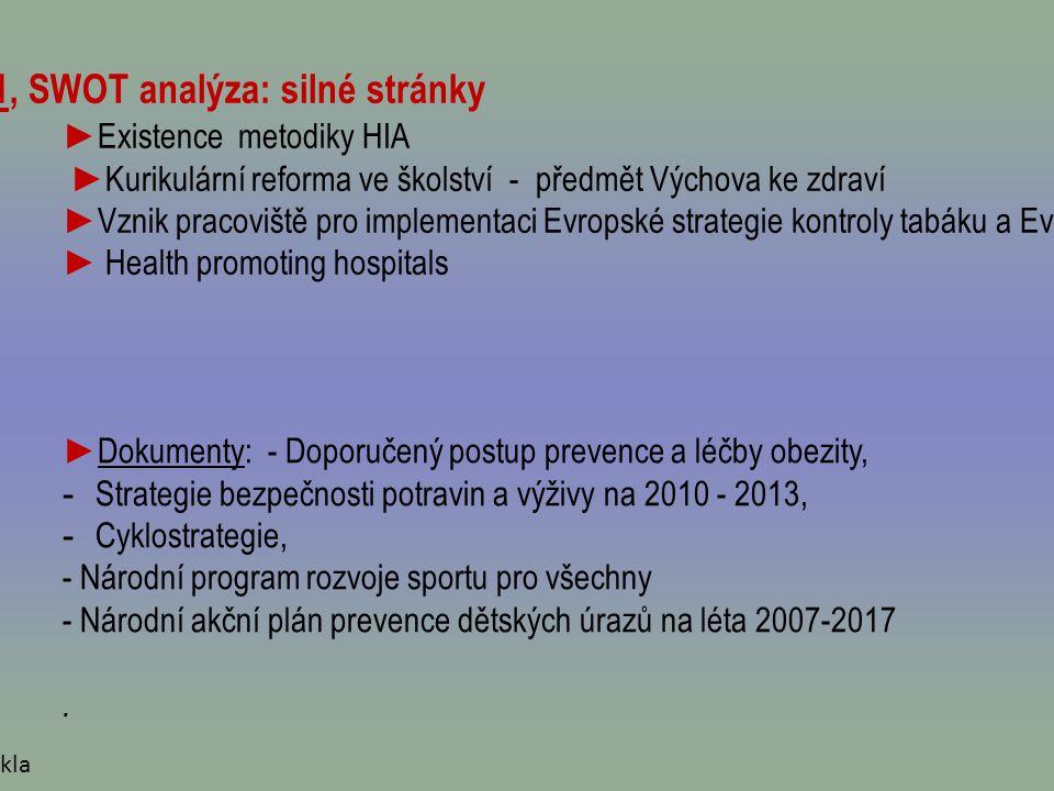 Zpráva o plnění Zdraví 21, SWOT analýza: silné stránky