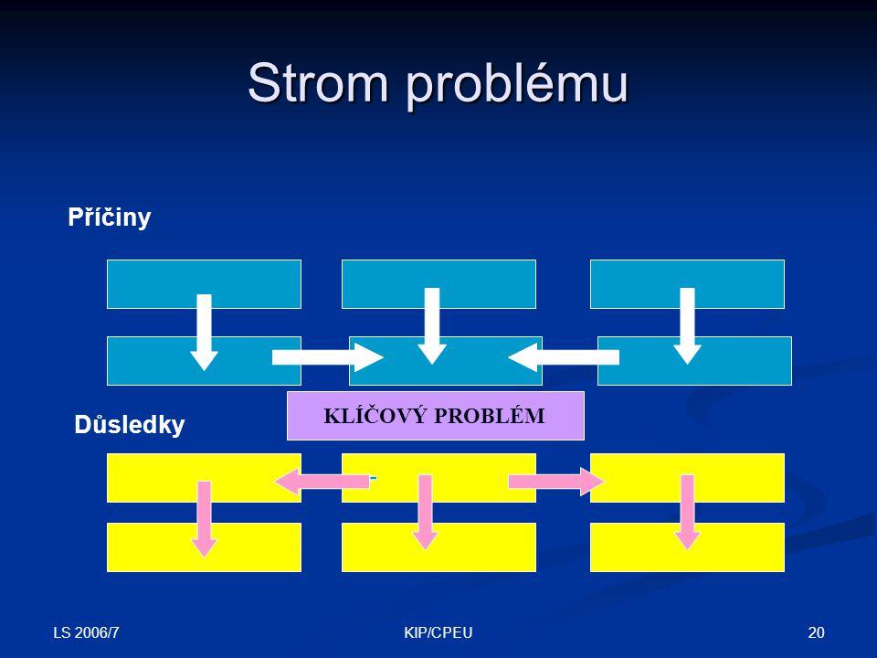 Strom problému Příčiny KLÍČOVÝ PROBLÉM Důsledky LS 2006/7 KIP/CPEU